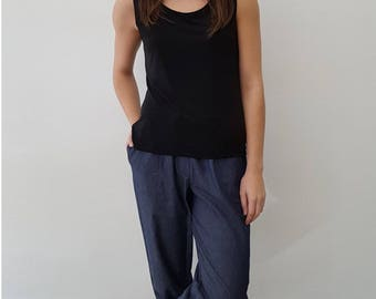 Chambray Cotton Pants with Drawstring Waist