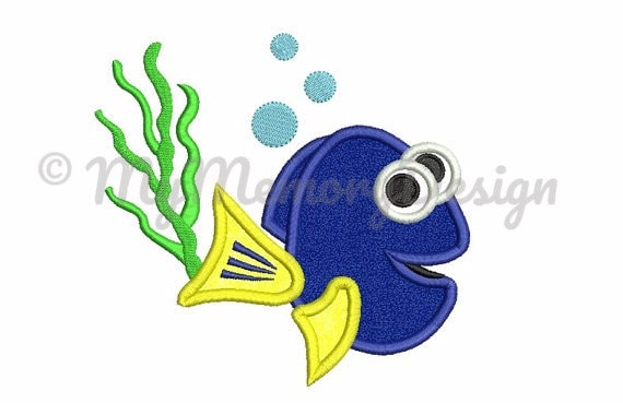 Fish Embroidery Design Fish Embroidery Blue Fish Applique