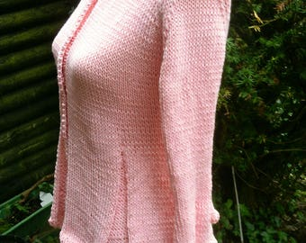 Knit Jacket with peplum, pink, size 36-38 (S-m)