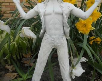 man in garden figurine lawn art garden sculpture bearded man outdoor art whimsical humorous spiritual art