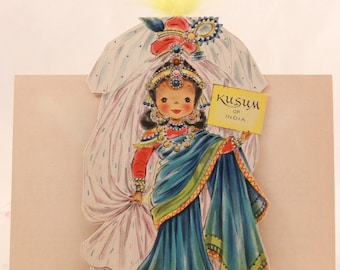 "Vintage/New 1949 Hallmark ""Little Women"" Doll Greeting Card with Envelope. RARE!!!! with feathers. Kusum of India No.32"
