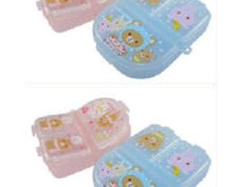 Box plastic compartments / Teddy / kawaii / semi-oval