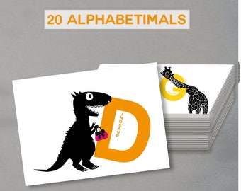 letter cards set of 20 cards of alphabetimals