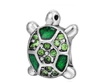 1 Green Crystal Turtle European Bead Fits Charm Bracelets - 73Q