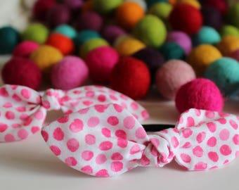 White & Pink Polka Dot Knot Hair Tie / Hair Clip
