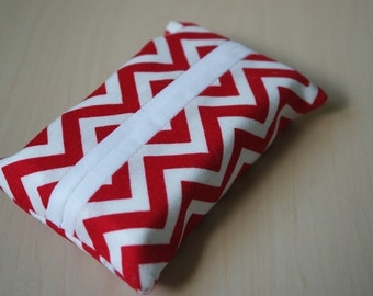 Travel tissue / kleenex holder  - 100% cotton chevrons [Red]