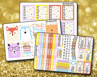 Happy Birthday Animal - Vertical Planner Stickers Erin Condren Life Planner  ECLP Colorful Confetti Birthday Party Stickers