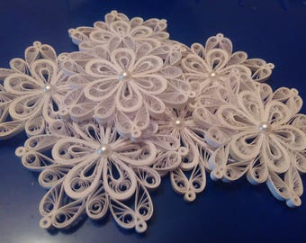 Set of 3, 4, 5 or 10 pcs quilled snowflakes,  Quilling Christmas ornament, Paper Snowflake - Set of 3,4,5