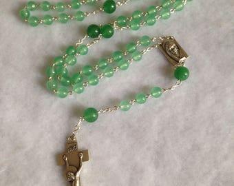 Green Aventurine Semi-Precious Gemstone Penal Cross Five Decade Roman Catholic Rosary