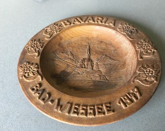 BAVARIA - Wood Plate - Carved - Germany - Decorative for Hanging or Display.