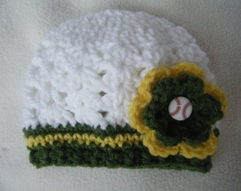 Crocheted Little Girl Baseball Baby Hats A's, Cubs, Yankees, Padres, Reds (You Can Choose Any Team) - Made to Order