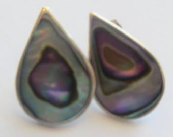 Small Vintage Alpaca Silver Abalone Earrings