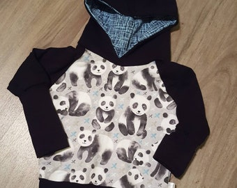 Scalable Hoodie, pandas, clothing, baby girl, boy, unisex, grow with me