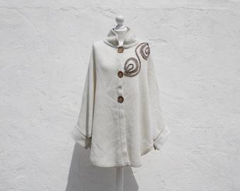 Vintage cape knit cape retro cape summer cape wedding cape elegant cape cream colour cape knit poncho cream poncho