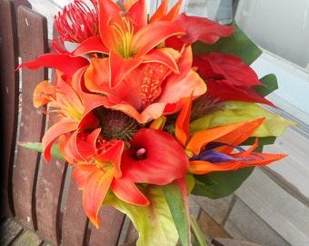 Destination Wedding / Beach Wedding / Real Touch Calla Lily and Tropical Flowers Silk Bridal Bouquet / Wedding Flowers / Beach Bouquet