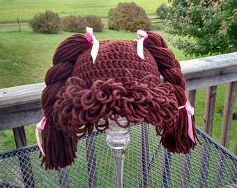 "Ready to ship! Crochet Cabbage Patch Kid hat wig size 1yr + (18"")"