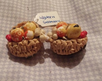 "Vintage West Germany clip on earrings. Earrings depict basket of fruit.1 1/2""."