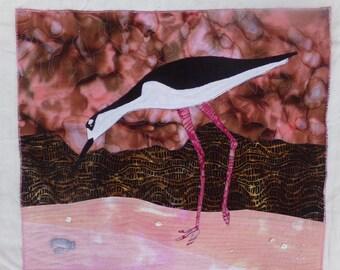 Wall Hanging Art Quilt Beach Mudflats Sanibel Island Beady Eyed Stilt with Baby Crab Batiks Pink Brown White Black