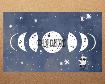 Moon Phases Watercolor Giclee' Art Print