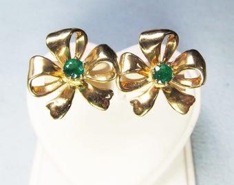 Emerald Earrings 14Kt Gold Bows