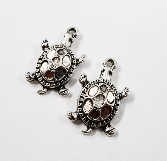 Silver Tortoise Charms 16x10mm Antique Silver Turtle Charms, Small Tortoise Pendants, Reptile Charms, Animal Charms, Metal Charms, 10pcs