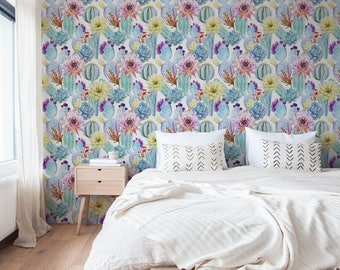 Cactus Wallpaper / Flower Wallpaper / Removable Wallpaper / Tropical Wallpaper / Floral Wallpaper / Reusable / Peel and Stick / Mural A304