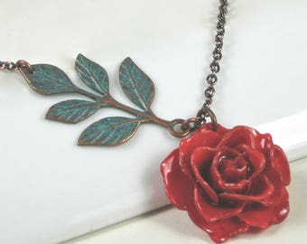 Real Red Rose Necklace - Mini Rose Necklace, Flower Jewelry, Natural Preserved, Nature Jewelry, Small Rose Necklace