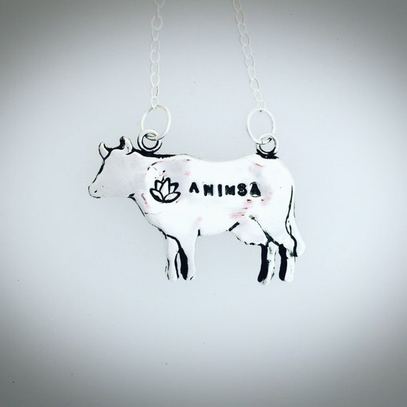 Ahimsa Cow with Lotus Necklace-Metal Clay-PMC-Vegan Necklace-Vegan Jewelry-Vegan Gift-Lotus-Ahimsa-Yoga Jewelry-Birthday-Anniversary