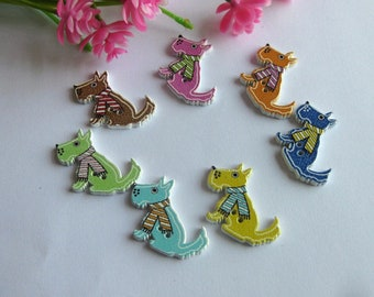 10/20/30 Mixed White Backed Wooden Coloured Scottie Dog Buttons 28x23mm Crafts Sewing Embellishment