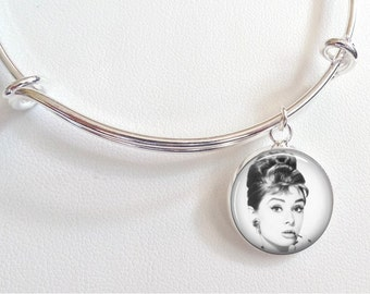 Audrey Hepburn Charm Bracelet - Breakfast at Tiffany's Charm Bracelet- Audrey Hepburn black and white photo with ciagarette