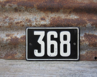 Vintage Number Sign # 368 Black & White Metal Sign Boat License Plate Small Metal 1960s 1970s Era # Sign Wall Decor vtg Digit Numeral Old