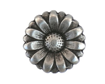 12 Morning Flower 11/16 inch ( 18 mm ) Metal Buttons Silver Color
