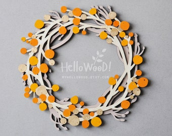 Wooden fall Wreath with sea buckthorn