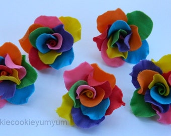 12 edible RAINBOW MEDIUM ROSES gay cupcake cake topper decorations sugar flower blossom wedding anniversary birthday engagement christening