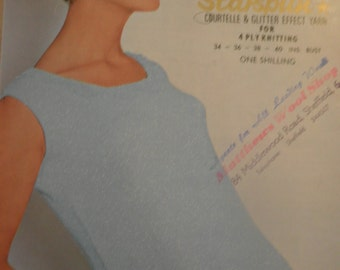 1960's womens knitting pattern for evening top with crochet edging, Lister BelAir 4ply pattern no N1762, ladies vest top pattern,