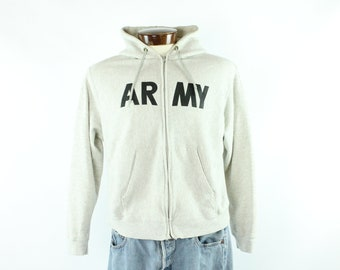 80s Army Zipper Jacket Sweatshirt Heather Gray Hooded Warmup Shirt Vintage 1980s Mens size Large Military