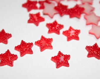 x 10 stars to paste - red - Cabochon Scrapbooking Cardmaking - wedding baptism birth