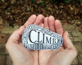 """Retiring SALE Climb embroidered iron on patch 4"""" long and 2.5"""" tall Outdoor patch, Adventure Patch, Nature Patch, Wanderlust"""