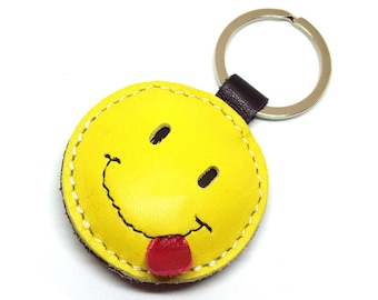 Smiley tongue sticking out, cheeky/playful, blowing a raspberry / Happy Face Yellow Leather Keychain FREE Shipping, Leather Smiley Bag Charm