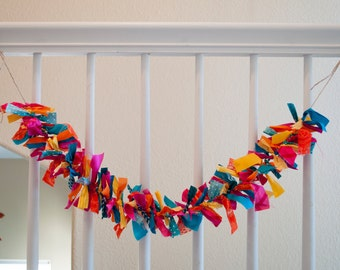 Bright and Colorful Fabric Garlands - Yellow/Orange/Pink/Turquoise