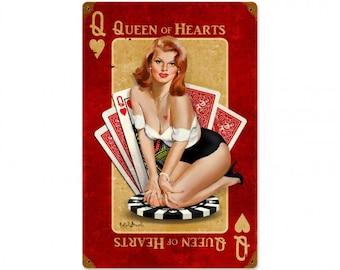 Vintage steel sign, Queen of Hearts, pin up girl, garage decor, man cave, bar decor,  garage art