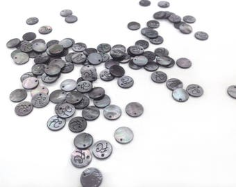 Genuine black mother of Pearl buttons, engraved FC, with only 1 hole, to complete your designs, exclusive petitsplaisirsfrance.