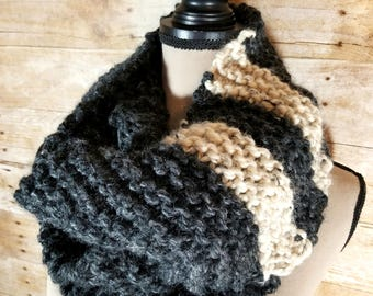 Chunky Infinity Scarf, Knit Scarf, Chunky Cowl, Grey and Beige Cowl, Charcoal and Wheat Cowl, Infinity Scarf