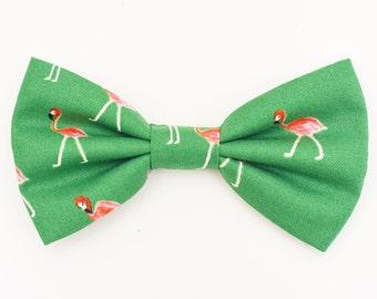 The Engert Bow Tie —Brooklyn Bowtied, Dog Bowtie, Flamingo, Flamingos, Green, Wedding, Dog of Honor, Ring Bearer,  Bowti, Preppy, Birds