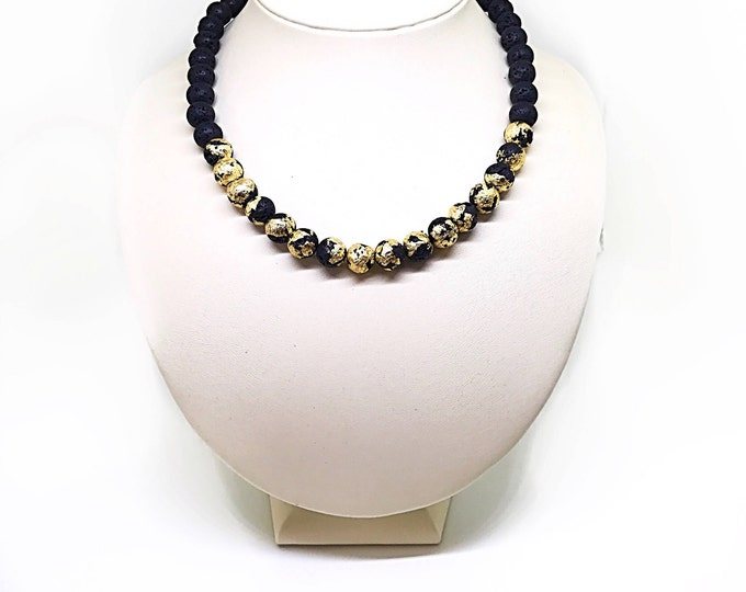 24K gold and natural black lava stone necklace