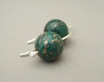 Green Gemstone Earrings - Green Pyrite and Sterling Silver Earrings