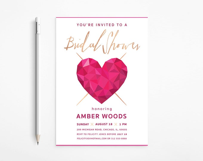 PRINTABLE - Modern Heart Bridal Shower Invitation - Pink - Fuschia - Gold - Bachelorette - Geometric - Faceted - Free changes