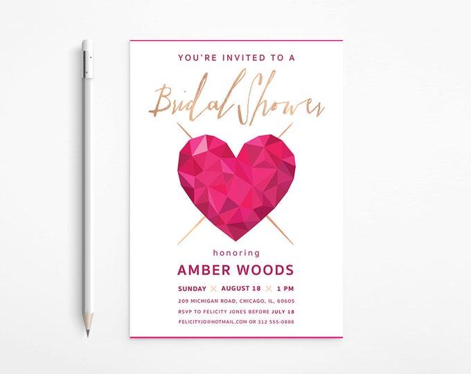 Modern Heart Bridal Shower Invitation, Pink, Fuschia, Gold, Bachelorette, Geometric - Faceted, Printable