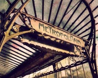 Paris photography, Paris Metro decor, Paris metro sign, Steampunk decor, Paris decor, Paris print, photographydream Art nouveau