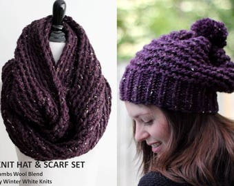 SCARF & HAT SET, this set includes both the hat and the infinity scarf,  knit beanie hat, pom pom hat and scarf, soft and easy to wear